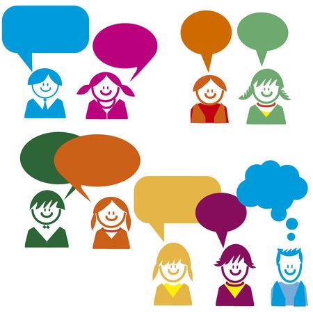 Kinderen praten in vector kleurrijke Stock Illustratie