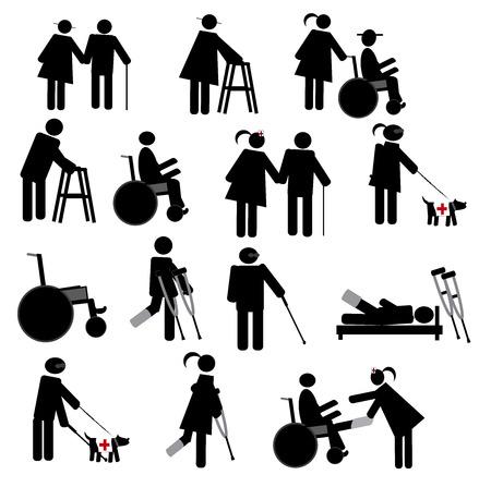 Fysiotherapie Icon Set Stock Illustratie