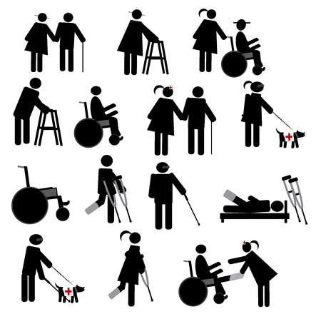 physiotherapy: Physiotherapy Icon Set Illustration