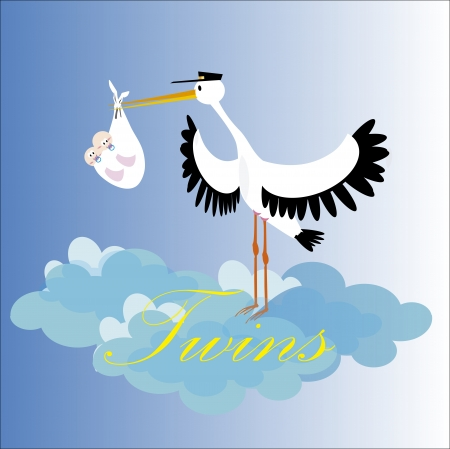 Stork delivering a newborn twins Vector