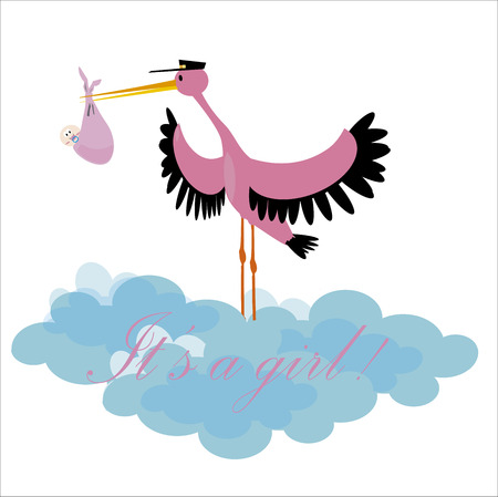 Stork delivering a newborn it s a girl Vector