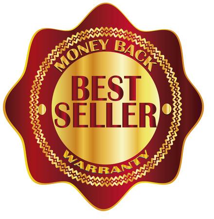 rood teken: gold, red sign, label best seller