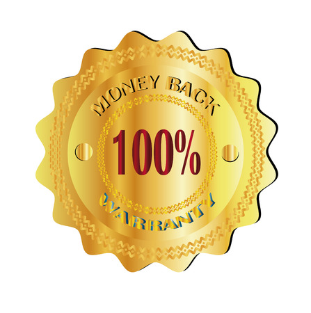 money back 100  warranty gold sign Vector