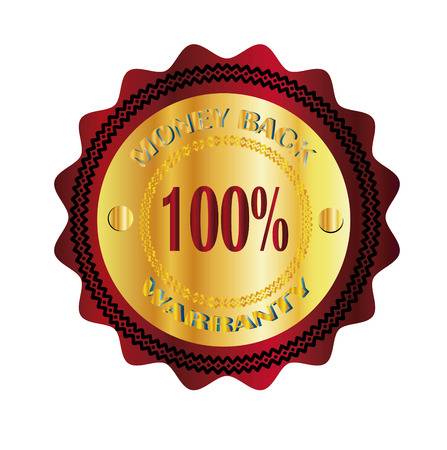 money back: money back 100  warranty gold sign Illustration