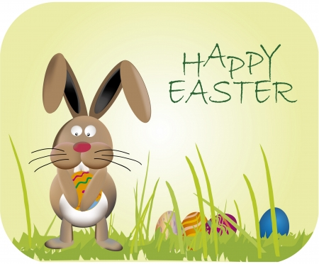 Easter bunny on green meadow Stock Vector - 25019568