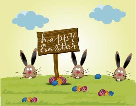 Easter bunnies on green meadow Vector