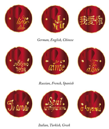 Set of label  I love you  in different languages photo