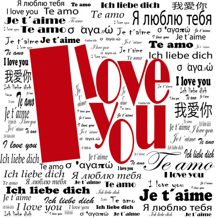 copy text: i love you words in many languages Stock Photo