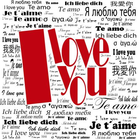Ik hou van je woorden in vele talen Stockfoto