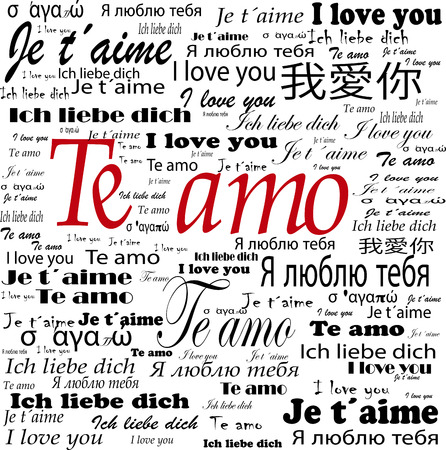 i label: i love you words in many languages Stock Photo