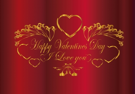 i love you ,Happy Valentine day  frame red gold Vector