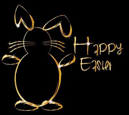 Ostern: Happy easter gold bunny
