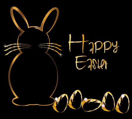 pascua: Happy easter gold bunny