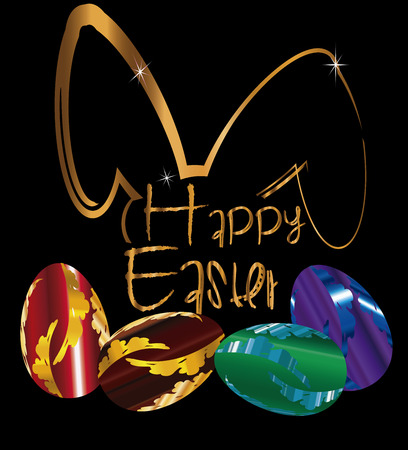 pascua: Happy Easter text in gold  word with eggs colorfull Illustration