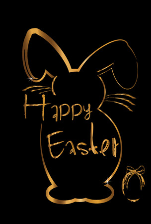 Happy easter gold bunny Vector