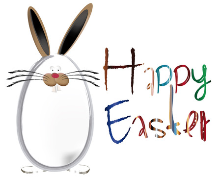 Ostern:  Text word with eggs colorfull and Bunny