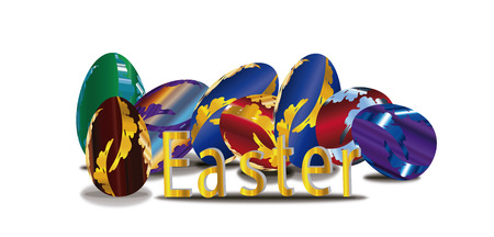 pascua: Happy easter gold egg