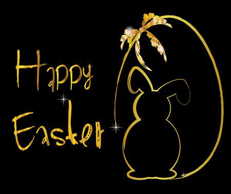 pascua: background easter egg gold black Illustration