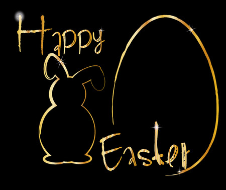 background happy easter egg gold black