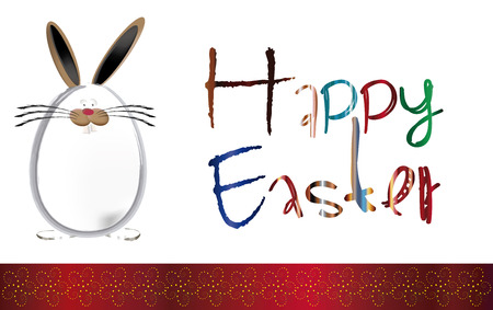 pascua: Background Easter with floral ribbon and bunny egg, Greeting Card