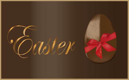 Easter egg theme background with chocolate egg Vector