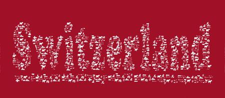 Switzerland text with icons Illustration