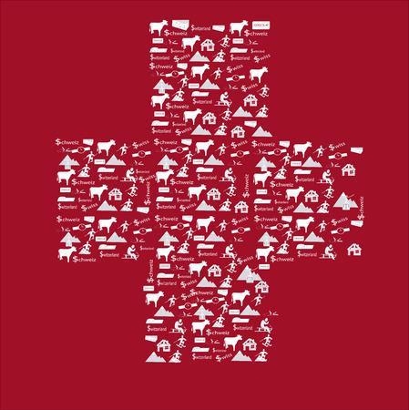 schweiz: Switzerland cross flag with icons