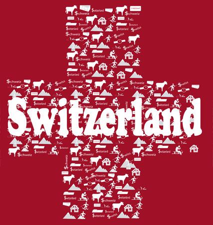 alpes suizos: Bandera cruzada Suiza con iconos suizos