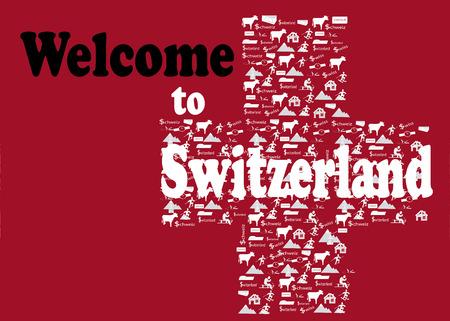 alpes suizos: la bienvenida a Suiza Vectores