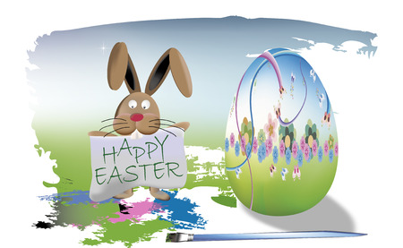Happy easter egg and bunny Vector