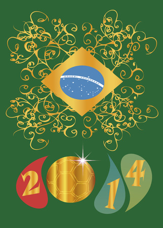 etikett: Brazil 2014  Background with Brazilian flag ball