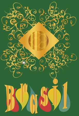 etikett: Brazil 2014  Background with Brazilian ball