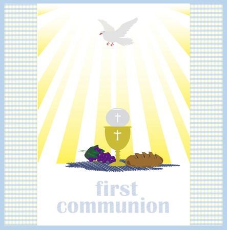designe: First Holy Communion, is a ceremony held in the Latin Church tradition of the Catholic Church. It is the colloquial name for a persons first reception of the sacrament of the Holy Eucharist,