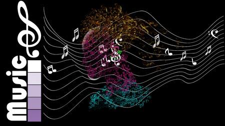 silhouet in profiel met muzikale hoofd en haar Stockfoto