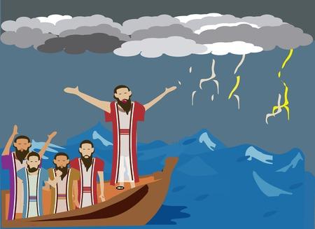obedecer: Lucas 8: 22-25, Marcos 4: 35-41. El viento y el mar obedecen a Jes�s Foto de archivo