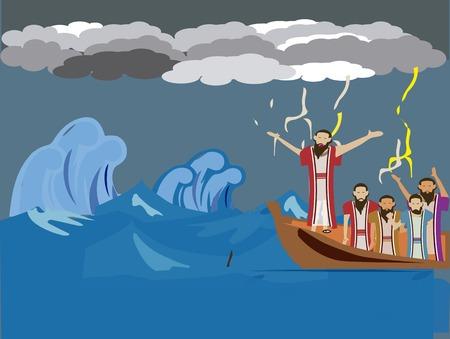 Jezus kalmeerde de golf en wind, vervolgens gevraagd over hun geloof.