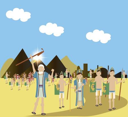Farao eindelijk laat de slaaf Hebreeuwse volk eindelijk vertrokken Egypte. Stockfoto