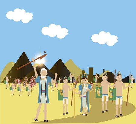 finally: Pharaoh finally let the enslaved Hebrew people finally left Egypt. Stock Photo