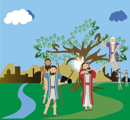 Luke: Zacchaeus who climbed a tree to see Jesus Luke 19:1-10. Stock Photo