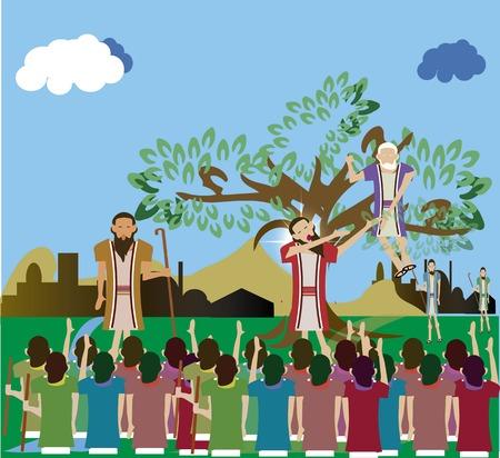 Zacchaeus who climbed a tree to see Jesus Luke 19:1-10. Stock Photo
