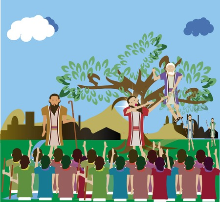 climbed: Zacchaeus who climbed a tree to see Jesus Luke 19:1-10. Stock Photo