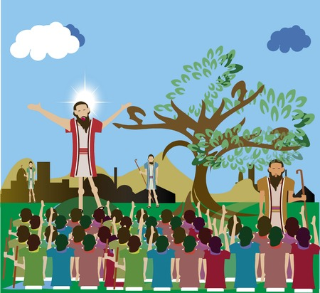 preaching: Jesus Christ preaching to his multitudes of followers.