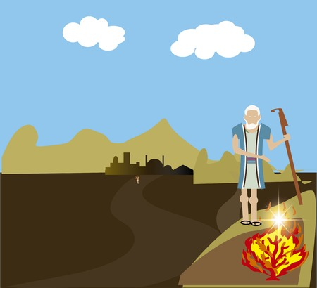 burning bush: Moses and the Burning Bush Stock Photo