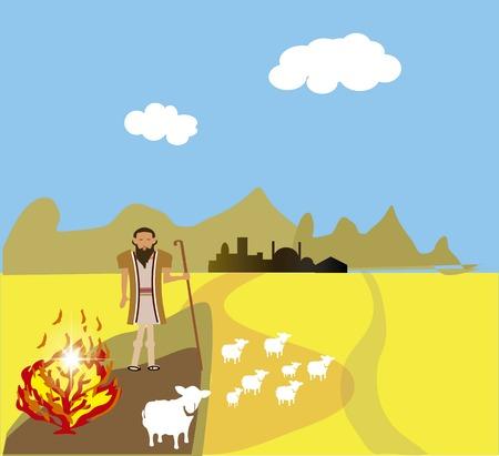 miracles: Moses and the Burning Bush Stock Photo
