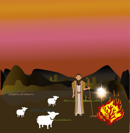testaments: Moses and the Burning Bush Stock Photo