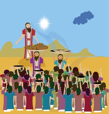 Jesus fed the 5000 people of crowds full with 2 fish and 5 loaves by the God\\\\\\\\\\\\\\\\ photo