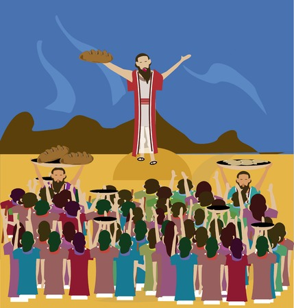 Jezus voedde de 5000 mensen van menigten vol met 2 vissen en 5 broden door de God \\\\