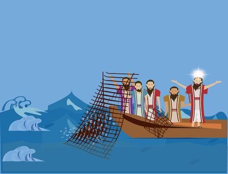 Jesus told Peter to fish, Luke 5:1-11. Stock Photo