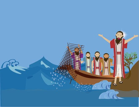 new testament: Follow me, you will fish for people.Peter and Andrew follow Jesus Stock Photo