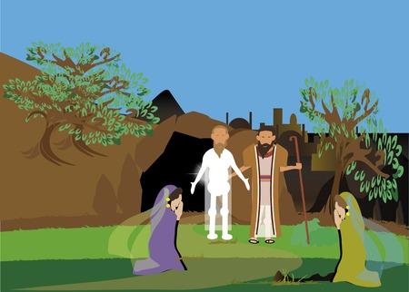 Johannes 11: 1-44. Jezus herleven Lazarus die een broer van Martha en Maria Stockfoto